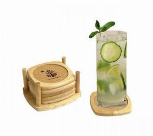 Bộ lót ly bầu bần bằng gỗ 6 cái và khay đựng có lớp hút nước