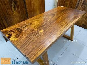 Bàn ăn gỗ me tây, bàn làm việc gỗ me tây nguyên tấm dài 1,65 x 70 x 5
