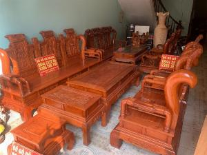 Bộ Bàn ghế tần thuỷ hoàng cột liền yếm liền gỗ hương đá