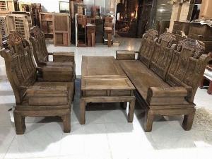 Bộ bàn ghế kiểu như ý hộp gỗ mun đuôi công
