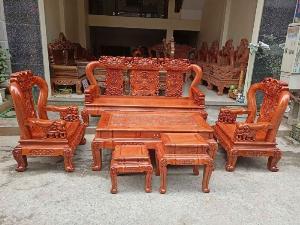 Bộ bàn ghế minh quốc voi ma mút gỗ hương đá siêu víp