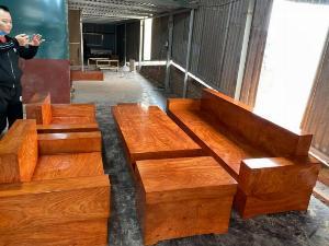 Bộ sofa đối đóng hộp gỗ hương đá
