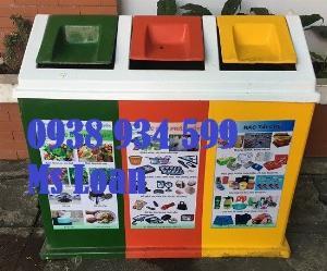 Thùng phân loại rác 3 ngăn, thùng rác 3 ngăn 3 màu,thùng rác nhựa 3 ngăn composite