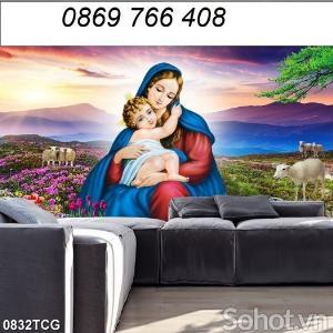Tranh Công Giáo-tranh gạch 3D Đức Mẹ