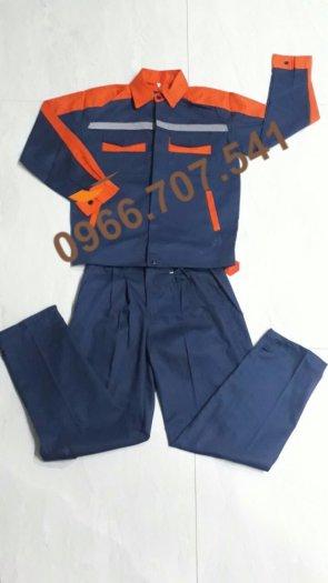 Quần áo bảo hộ lao động tím than -Cam