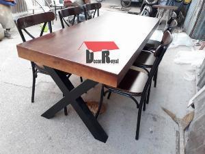 Bàn cafe nhóm chân sắt chữ X