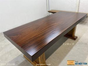 Bàn gỗ tự nhiên nguyên khối dài 2m x 88 x 10cm