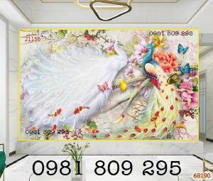 Gạch trang trí 3d - chim công - tranh gạch men