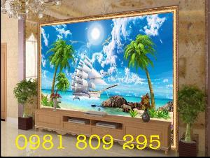 Tranh gạch trang trí - thuyền buồm 3d - gạch tranh