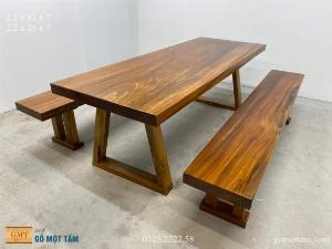 Bộ bàn ghế gỗ tự nhiên nguyên khối dài 2,2 x 81 x 7