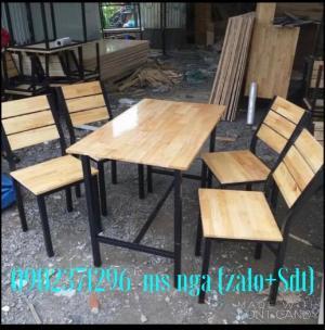 Bàn ghế gỗ cố định quán nhậu