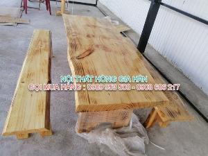 Bộ bàn ghế gỗ tự nhiên siêu đẹp dành cho quán ăn, sân vườn, quán cafe giá tại xưởng - LH: 0989 953 508 - 0908 686 217