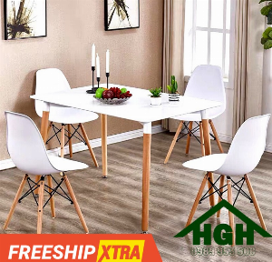 Bàn ghế phòng ăn chân gỗ giá rẻ HGH141 siêu rẻ