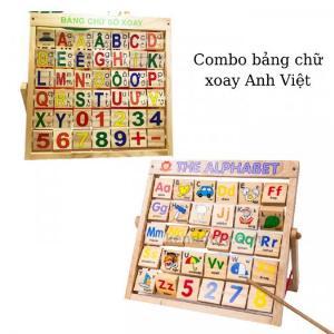 Combo bảng chữ Anh Việt khung xoay dính liền bằng gỗ