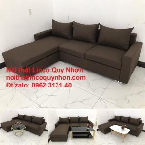 Bộ ghế sofa góc L giá rẻ màu nâu cafe đậm rẻ | Nội thất Linco Quy Nhơn Bình Định
