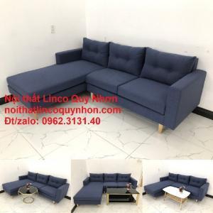 Bộ ghế sofa góc L giá rẻ đẹp hiện đại xanh dương đen vải bố | Nội thất Linco Quy Nhơn Bình Định