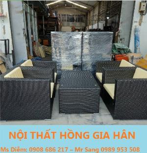 Bộ sofa cafe chữ nhật cao cấp HGH887