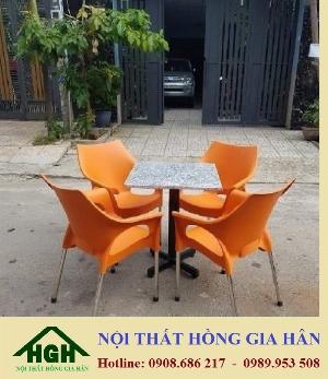 Bàn ghế cafe nhựa đúc bàn hoa cương HGH398