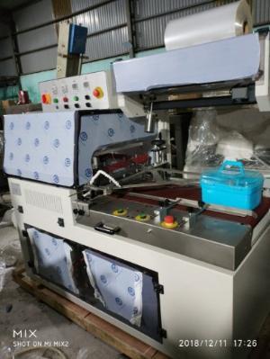Máy cắt dán màng co POF tự động, máy bọc màng hộp khẩu trang tự động