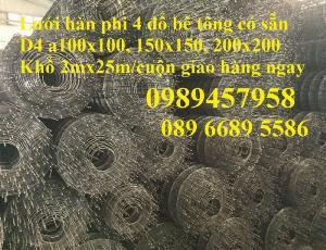 Chuyên Lưới thép đổ sàn bê tông chống nứt phi 4, Lưới thép D4 ô 200x200, 250x250