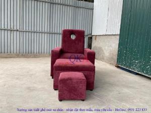 Bộ ghế massage chân spa bọc nỉ nhung tím mộng mơ