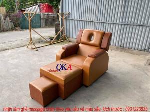 Bộ ghế massage chân nâng hạ thủy lực màu nâu vàng sang trọng