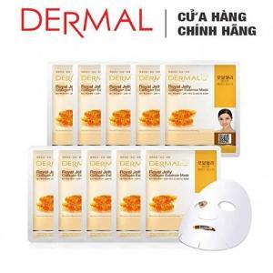 Mặt Nạ Dermal Chiết Xuất Sữa Ong Chúa Ngăn Ngừa Lão Hóa Da Royal Jelly Collagen Essence Mask 23g - 10 Miếng