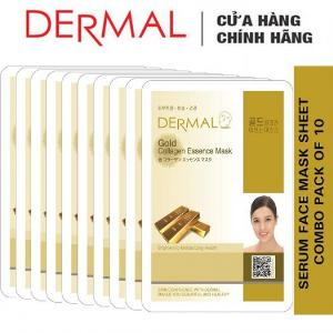 Mặt Nạ Dermal Chiết Xuất Vàng Dưỡng Sáng Da Gold Collagen Essence Mask 23g - 10 Miếng