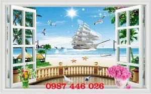 Tranh cửa sổ- gạch tranh ốp tường 3d HP510