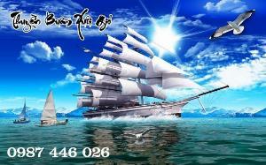 Tranh gạch men thuyền buồm- gạch 3d, tranh trang trí HP76