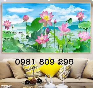 2021-04-13 08:50:20 Tranh gạch - hoa sen 3d - tranh ốp tường 1,200,000