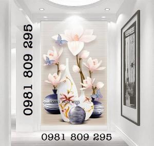 2021-04-13 09:03:23 Tranh 3d bình hoa khổ đứng - gạch tranh 1,200,000