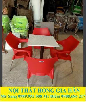 Bộ Bàn Ghế Cafe Nhựa Mặt Đá HGH