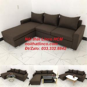 Bộ ghế sofa góc L giá rẻ nâu đen đậm | Sofa L phòng khách | Nội thất Linco Tphcm HCM Hồ Chí Minh Sài Gòn SG