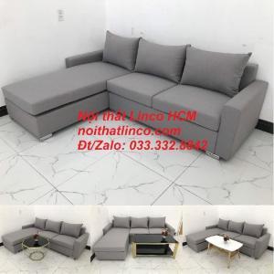 Sofa góc Tphcm | Bộ ghế sofa góc L xám trắng giá rẻ | Nội thất Linco HCM Sài Gòn Tphcm SG Hồ Chí Minh