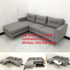 Bộ ghế sofa góc L màu xám ghi trắng, sofa góc giá rẻ nhỏ | Nội thất Linco Tphcm HCM Hồ Chí Minh Sài Gòn