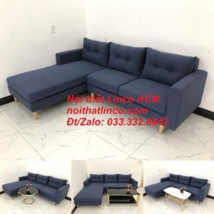 Bộ ghế sofa góc L đẹp, sofa góc dài 2m2 nhỏ xanh dương đen | Nội thất Linco HCM Tphcm Hồ Chí Minh Sài Gòn SG
