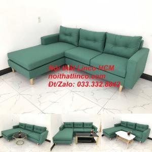 Bộ ghế sofa góc 2m2 giá rẻ, ghế sofa góc vải màu xanh ngọc | Nội thất Linco HCM Tphcm Hồ Chí Minh Sài Gòn SG