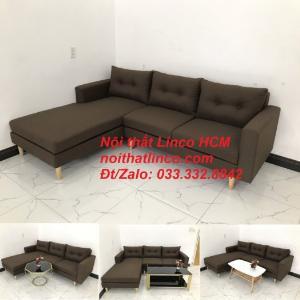 Bộ ghế sofa góc chữ L, sofa phòng khách hiện đại nâu đậm | Nội thất Linco Tphcm HCM Hồ Chí Minh Sài Gòn SG