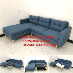 Bộ ghế sofa góc phòng khách | Sofa góc L xanh dương giá rẻ | Nội thất Linco HCM Tphcm Hồ Chí Minh Sài Gòn SG