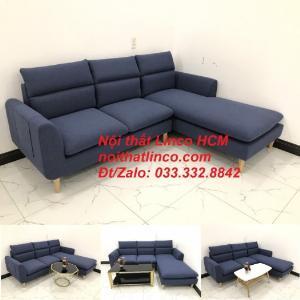 Bộ ghế sofa góc L phòng khách đẹp xanh dương đen bọc vải | Nội thất Linco Tphcm HCM Hồ Chí Minh Sài Gòn SG