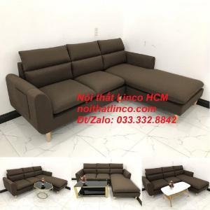 Bộ ghế sofa góc L màu nâu cafe đậm đen dài 2m2 giá rẻ | Nội thất Linco Tphcm HCM Hồ Chí Minh Sài Gòn SG