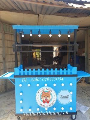 Xe gỗ trà sữa nhiều màu sắc kết hợp với đèn và hộp đèn logo giá rẻ tại xưởng