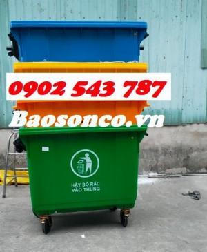 Xe đẩy rác  660 lít nhựa HĐPE ngoài trời