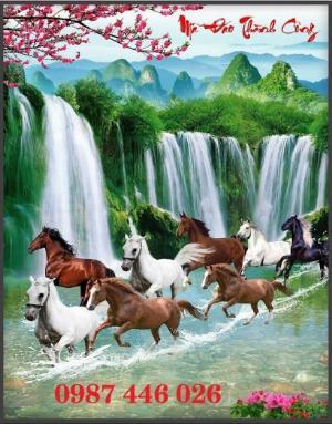 Gạch tranh ngựa phong thủy ốp tường HP1602