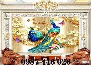 Gạch 3d tranh chim công đẹp HP42192`