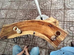 Bàn gỗ me tây 1.4 m giá sỉ tại xưởng sản