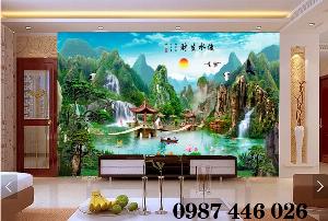 Gạch trang trí tranh tường phong cảnh 3d HP6018