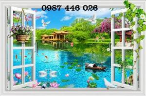 Tranh gạch 3d phong cảnh cửa sổ ốp tường HP518
