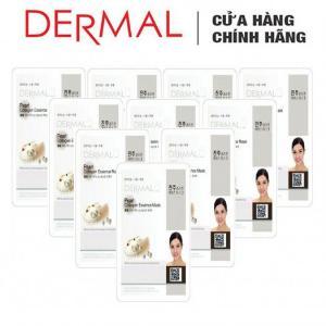 Mặt Nạ Dermal Tinh Chất Ngọc Trai Dưỡng Trắng Da Pearl Collagen Essence Mask 23g - 10 Miếng